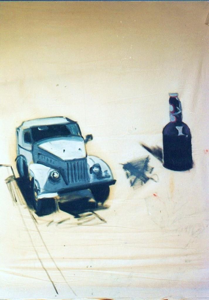 Auto mit Bierflasche, Leinwand, 150 x 105 cm